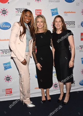 Yolanda Adams, Pam Kaufman, Kathleen Kennedy. Grammy Award-winning artist Yolanda Adams, left, and mentorship honoree Pam Kaufman, center, President, Viacom Nickelodeon Consumer Products, with her mentor Kathleen Kennedy, of Lucasfilm, attend 15th annual Wonder Women Awards, presented by Women in Toys, Licensing and Entertainment (WIT), in New York