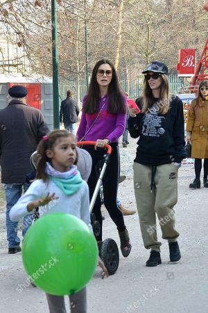 Stock Image of Melissa Satta, son Maddox Prince-Boateng and Marica Pellegrinelli and her daughter Raffaella Maria