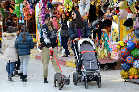 Stock Photo of Melissa Satta, son Maddox Prince-Boateng and Marica Pellegrinelli and her daughter Raffaella Maria