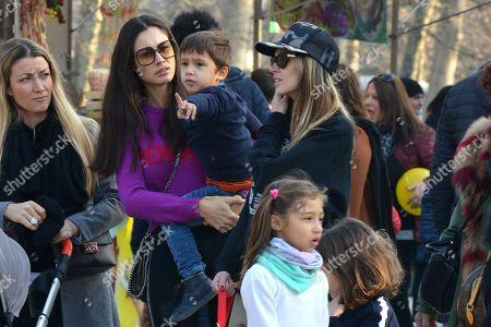 Melissa Satta, son Maddox Prince-Boateng and Marica Pellegrinelli and her daughter Raffaella Maria