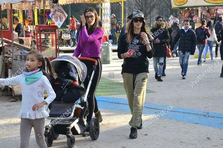 Stock Picture of Melissa Satta, son Maddox Prince-Boateng and Marica Pellegrinelli and her daughter Raffaella Maria