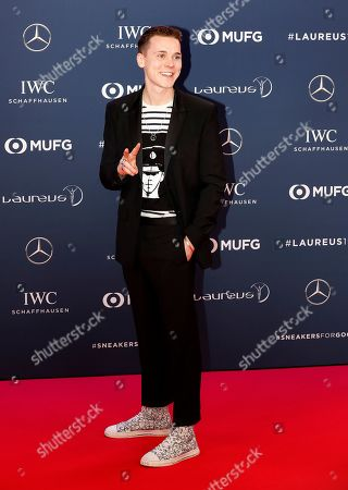 Stock Picture of German DJ Felix Jaehn arrives at the 2019 Laureus World Sports Awards in Monaco, 18 February 2019. The annual Laureus Awards are held to honor people whom make a notable impact and remarkable accomplishments in the world of sport throughout the year.
