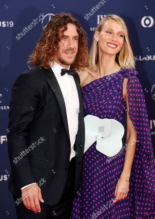 Spanish former soccer player Carles Puyol (L) and his wife Vanessa Lorenzo (R) arrive at the 2019 Laureus World Sports Awards in Monaco, 18 February 2019. The annual Laureus Awards are held to honor people whom make a notable impact and remarkable accomplishments in the world of sport throughout the year.