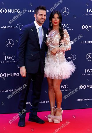 Spanish soccer player Cesc Fabregas (L) and his wife Daniella Semaan (R) arrive at the 2019 Laureus World Sports Awards in Monaco, 18 February 2019. The annual Laureus Awards are held to honor people whom make a notable impact and remarkable accomplishments in the world of sport throughout the year.