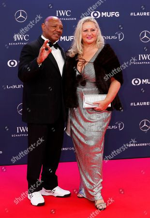 Marvin Hagler (L) and his wife Kay Guarrera (R) arrive at the 2019 Laureus World Sports Awards in Monaco, 18 February 2019. The annual Laureus Awards are held to honor people who make a notable impact and remarkable accomplishments in the world of sport throughout the year.