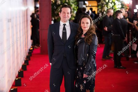 Screenwriters Anna Waterhouse (R) and Joe Shrapnel (L) arrive for the World Premiere of 'The Aftermath' at Picturehouse Central in London, Britain, 18 February 2019. The film is released in the UK on 01 March 2019 and on 15 March 2019 in the US.