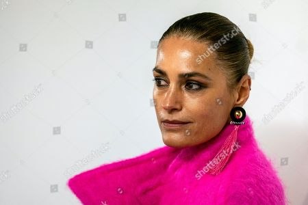 British model Yasmin Le Bon prepares backstage prior to the Oxfam Fashion Fighting Poverty Show during the London Fashion Week 2019 in Central London, Britain, 18 February 2019. The LFW runs from 15 to 19 February.