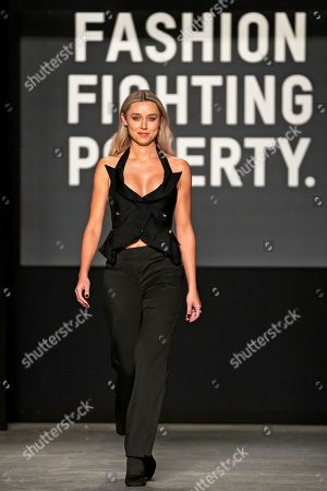 Irish singer Una Healy presents a creation at the Oxfam Fashion Fighting Poverty Show during the London Fashion Week 2019 in Central London, Britain, 18 February 2019. The LFW runs from 15 to 19 February.