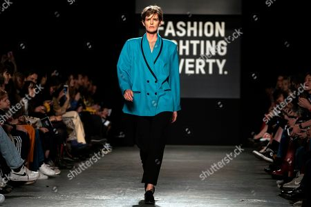 British model Stella Tennant presents a creation at the Oxfam Fashion Fighting Poverty Show during the London Fashion Week 2019 in Central London, Britain, 18 February 2019. The LFW runs from 15 to 19 February.