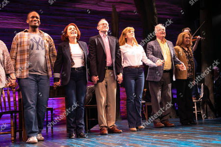 Stock Photo of Nathanael Campbell (Bob), Rachel Tucker (Beverley/Annette), Robert Hands (Nick Doug), Emma Salvo (Janice), Clive Carter (Claude) and Helen Hobson (Diane) during the curtain call