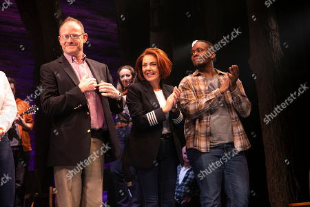 Robert Hands (Nick Doug), Rachel Tucker (Beverley/Annette) and Nathanael Campbell (Bob) during the curtain call
