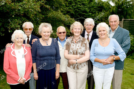 L to R: Jean and Peter Baxter, Pat and Ray Basson, Maureen and Ted Burst, Ann and Ron Valentine. In the garden of the Valentines' home in Horsham, Sussex