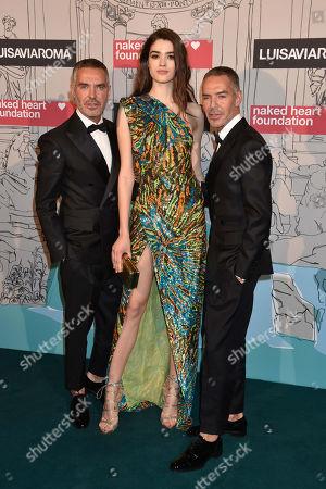 Alexandra Micu with Dean Caten and Dan Caten