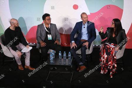 Stock Photo of Matteo Ceurvels (Regional Analyst, Latin America & Spain, eMarketer), Juan Carlos Valdes (Country Manager - Mexico, Colombia & Argentina, Taboola), Armando Rodriguez (Vice President and Managing Director, Latin America and U.S. Hispanic, Verizon Media) and Ana Moises (LATAM Sales Director - Marketing Solutions, LinkedIn)