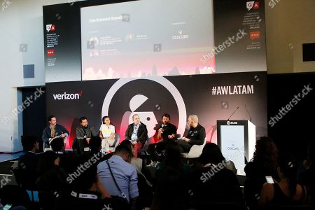 Stock Picture of Jimmy Sirvent (Host), Diego Ortiz (Director & Executive, Rolling Stone Latin America Magazine), Livia Brito (Actress), Sergio Pizzolante (Film & TV Executive Producer & Agent), Cory Crespo (President & Co-Founder, COLOURs & CMX Management Mexico) and Pei Garza (Radio Host)