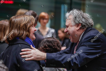 French Minister for European Affairs Nathalie Loiseau (L) is greeted by Greek Alternate Foreign Minister Giorgos Katrougalos (R) prior to the EU General Affairs Council meeting in Brussels, Belgium, 19 February 2019. The Ministers will hold a policy debate on the multiannual financial framework for 2021-2027, the annotated draft agenda of the upcoming European Council in March, and will review the status of the procedures under Article 7(1) TEU on the rule of law in Poland and on respect for the EU values in Hungary, according to the council's official agenda.