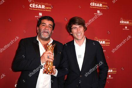 Alain Attal, Hugo Selignac pose with the Daniel Tuscan du Plantier prize