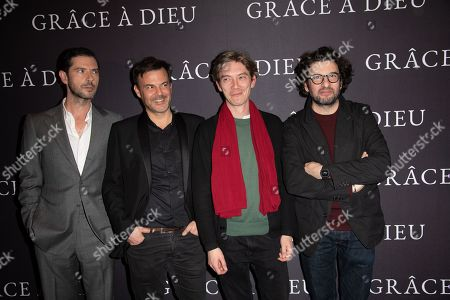 (L-R) Melvil Poupaud, director Francois Ozon, Swann Arlaud and Eric Caravaca