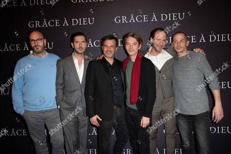 (L-R) Francois Devaux, Melvil Poupaud, director Francois Ozon, Swann Arlaud, Alexandre Dussot-Hezez and Pierre-Emmanuel Germain-Thill