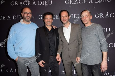 (L-R) Francois Devaux, director Francois Ozon, Alexandre Dussot-Hezez and Pierre-Emmanuel Germain-Thill