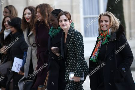 Members of the G7 Advisory Council for Gender Equality, UN Women Goodwill Ambassador and actress Emma Watson (2-R) and French director Lisa Azuelos (R) arrive for a meeting at the Elysee Palace, in Paris, France, 19 February 2019. This meeting takes place ahead of the next G7 summit in August 2019 in Biarritz, France.