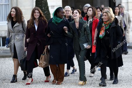 Members of the G7 Advisory Council for Gender Equality, (L-R) Assia Benziane, deputy mayor of Fontenay Sous Bois, Marlene Schiappa, French Secretary of Equality between women and men, Aissata Lam, UN Women Goodwill Ambassador and actress Emma Watson and French director Lisa Azuelos arrive for a meeting at the Elysee Palace, in Paris, France, 19 February 2019. This meeting takes place ahead of the next G7 summit in August 2019 in Biarritz, France.