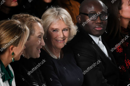 Camilla Duchess of Cornwall, Edward Enninful, Justine Picardie in the front row