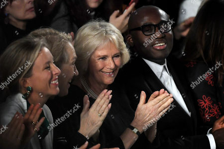 Camilla, Camilla Duchess of Cornwall, Edward Enninful, Justine Picardie in the front row