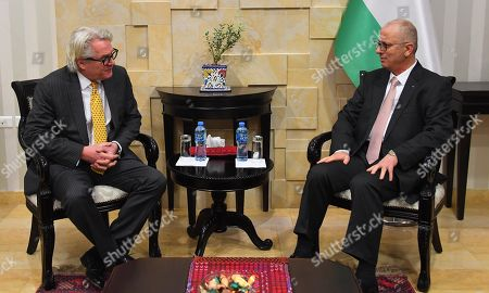 Palestinian Prime Minister Rami Hamdallah meets with Norwegian envoy for the Middle East peace process, Tor Wennesland, in the West Bank city of Ramallah, February 19, 2019.