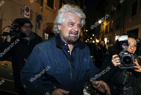 Co-founder of Five-Star movement (M5S), Beppe Grillo, leaves from an hotel prior his theathral show in Rome, Italy, 19 February 2019.