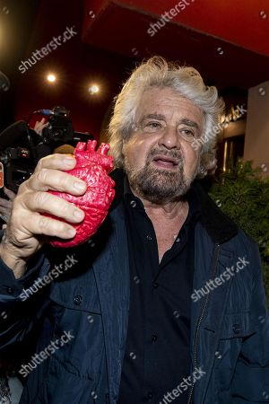 Co-founder of Five-Star movement (M5S), Beppe Grillo, leaves from an hotel showing a plastic heart in Rome, Italy, 20 February 2019.