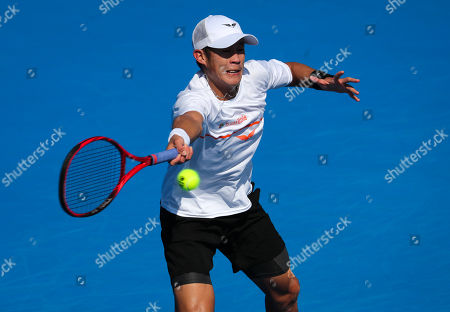 Jason Jung, of Taipei, plays a forehand against Steve Johnson, of the United States, during the first round of the Delray Beach Open ATP professional tennis tournament, played at the Delray Beach Stadium & Tennis Center in Delray Beach, Florida, USA