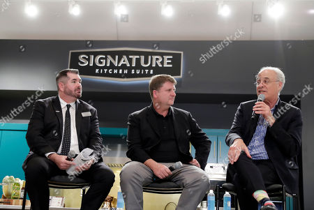 Noted food journalist and author, Mark Bittman, right, speaks during a panel discussion on culinary trends with Barry Bredvik, Director of Sales at Signature Kitchen Suite, left, and Kevin Brown, CEO of Innit, center, at the 2019 Kitchen and Bath Industry Show on in Las Vegas
