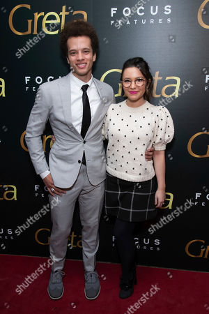 "Damon J Gillespie, Grace Aki. Damon J Gillespie and Grace Aki attend a screening of Focus Features' ""Greta"", hosted by The Cinema Society, at Metrograph,in New York"