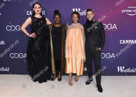 Mary Chieffo, Gersha Phillips, Sonequa Martin-Green, Wilson Cruz. Mary Chieffo, from left, Gersha Phillips, Sonequa Martin-Green and Wilson Cruz arrive at the 21st annual Costume Designers Guild Awards at The Beverly Hilton Hotel, in Beverly Hills, Calif