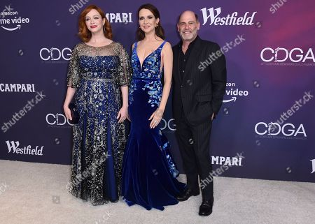 Christina Hendricks, Katherine Jane Bryant, Matthew Weiner. Christina Hendricks, from left, Katherine Jane Bryant and Matthew Weiner arrive at the 21st annual Costume Designers Guild Awards at The Beverly Hilton Hotel, in Beverly Hills, Calif