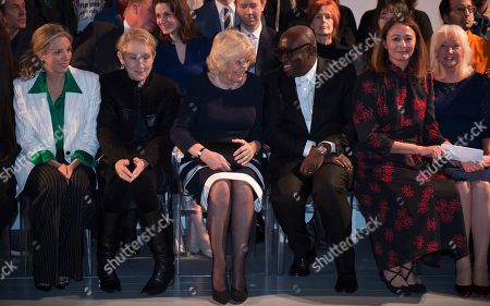 Justine Picardie, Camilla Duchess of Cornwall and Edward Enninful in the front row
