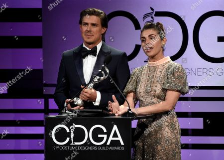 Chris Lowell, Lili Mirojnick. Chris Lowell, left, and Lili Mirojnick present the award for excellence in sci-fi/fantasy television at the 21st annual Costume Designers Guild Awards at The Beverly Hilton Hotel, in Beverly Hills, Calif