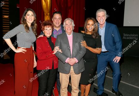"""D'Arcy Carden, Marion Ross, Michael Levitt, Henry Winkler, Paula Newsome, Tom Bergeron. D'Arcy Carden, from left, Marion Ross, Michael Levitt, Henry Winkler, Paula Newsome and Tom Bergeron participate in the Television Academy member event """"Staying at the Table: A Conversation with Henry Winkler """" at the Saban Media Center at the Television Academy on in North Hollywood, Calif"""
