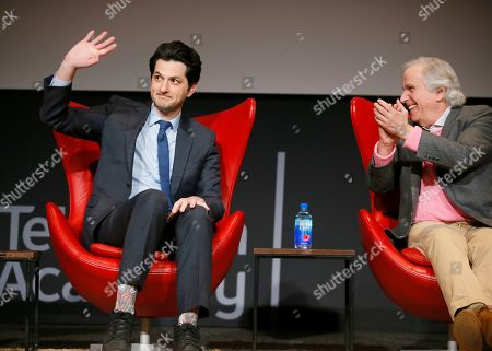 "Ben Schwartz, Henry Winkler. Ben Schwartz, left, and Henry Winkler take part in the lively Television Academy member event, ""Staying at the Table: A Conversation with Henry Winkler, "" at the Saban Media Center at the Television Academy on in North Hollywood, Calif"