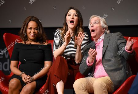 """Paula Newsome, D'Arcy Carden, Henry Winkler. Paula Newsome, left, enjoys an improv song by D'Arcy Carden, center, and Henry Winkler at the lively Television Academy member event, """"Staying at the Table: A Conversation with Henry Winkler, """" at the Saban Media Center at the Television Academy on in North Hollywood, Calif"""