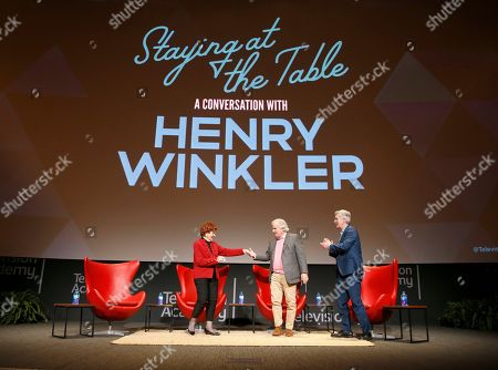 """Marion Ross, Henry Winkler, Tom Bergeron. Marion Ross, from left, Henry Winkler and Tom Bergeron take part in the lively Television Academy member event, """"Staying at the Table: A Conversation with Henry Winkler, """" at the Saban Media Center at the Television Academy on in North Hollywood, Calif"""