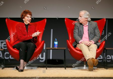 """Marion Ross, Henry Winkler. Marion Ross, left, and Henry Winkler take part in the lively Television Academy member event, """"Staying at the Table: A Conversation with Henry Winkler, """" at the Saban Media Center at the Television Academy on in North Hollywood, Calif"""