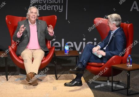 """Henry Winkler, Tom Bergeron. Henry Winkler, left, and Tom Bergeron take part in the lively Television Academy member event, """"Staying at the Table: A Conversation with Henry Winkler, """" at the Saban Media Center at the Television Academy on in North Hollywood, Calif"""