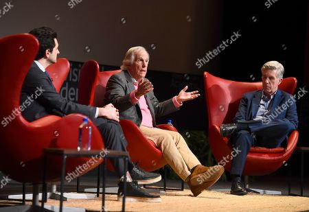 "Ben Schwartz, Henry Winkler, Tom Bergeron. Ben Schwartz, from left, Henry Winkler and Tom Bergeron take part in the lively Television Academy member event, ""Staying at the Table: A Conversation with Henry Winkler, "" at the Saban Media Center at the Television Academy on in North Hollywood, Calif"