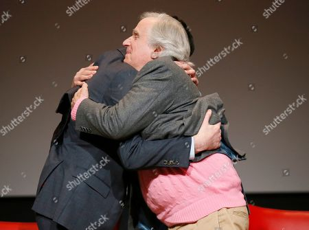 "Ben Schwartz, Henry Winkler. Ben Schwartz, left, and Henry Winkler share a hug onstage at the lively Television Academy member event, ""Staying at the Table: A Conversation with Henry Winkler, "" at the Saban Media Center at the Television Academy on in North Hollywood, Calif"