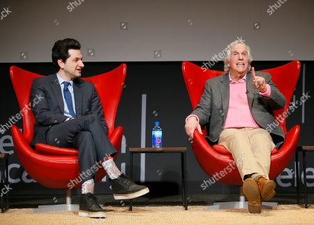 "Stock Image of Ben Schwartz, Henry Winkler. Ben Schwartz, left, and Henry Winkler take part in the lively Television Academy member event, ""Staying at the Table: A Conversation with Henry Winkler, "" at the Saban Media Center at the Television Academy on in North Hollywood, Calif"