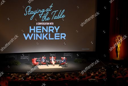 """Michael Levitt, Henry Winkler, Tom Bergeron. Michael Levitt, from left, Henry Winkler and Tom Bergeron take part in the lively Television Academy member event, """"Staying at the Table: A Conversation with Henry Winkler, """" at the Saban Media Center at the Television Academy on in North Hollywood, Calif"""