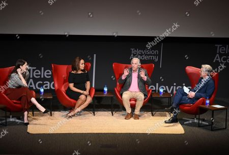 """D'Arcy Carden, Paula Newsome, Henry Winkler, Tom Bergeron. D'Arcy Carden, from left, Paula Newsome, Henry Winkler and Tom Bergeron take part in the lively Television Academy member event, """"Staying at the Table: A Conversation with Henry Winkler, """" at the Saban Media Center at the Television Academy on in North Hollywood, Calif"""