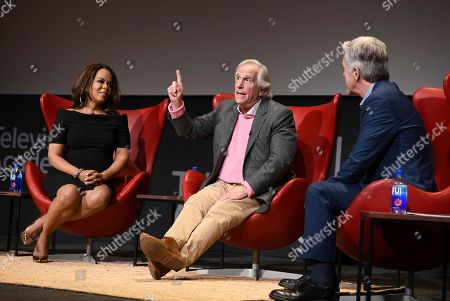 """Paula Newsome, Henry Winkler, Tom Bergeron. Paula Newsome, from left, Henry Winkler and Tom Bergeron take part in the lively Television Academy member event, """"Staying at the Table: A Conversation with Henry Winkler, """" at the Saban Media Center at the Television Academy on in North Hollywood, Calif"""